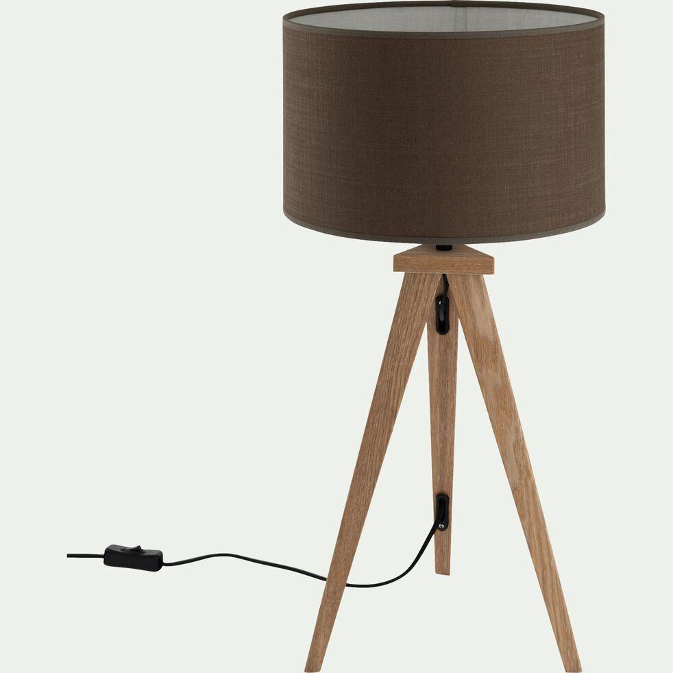 Lampe à poser en bois - brun châtaigner-TRIX