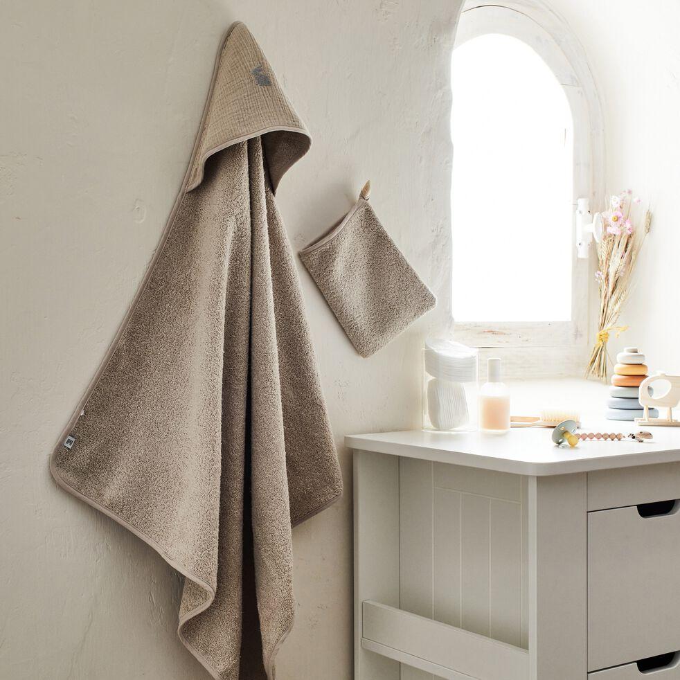 Ensemble cape de bain et gant bébé avec broderie lurex - beige alpilles-Nuage