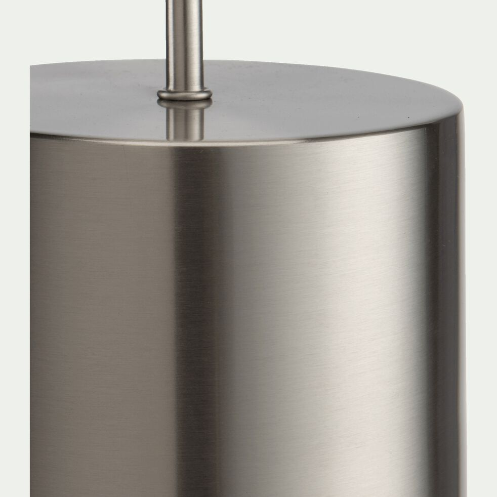 Pied de lampe en acier - argenté D14xH36cm-AGATHA