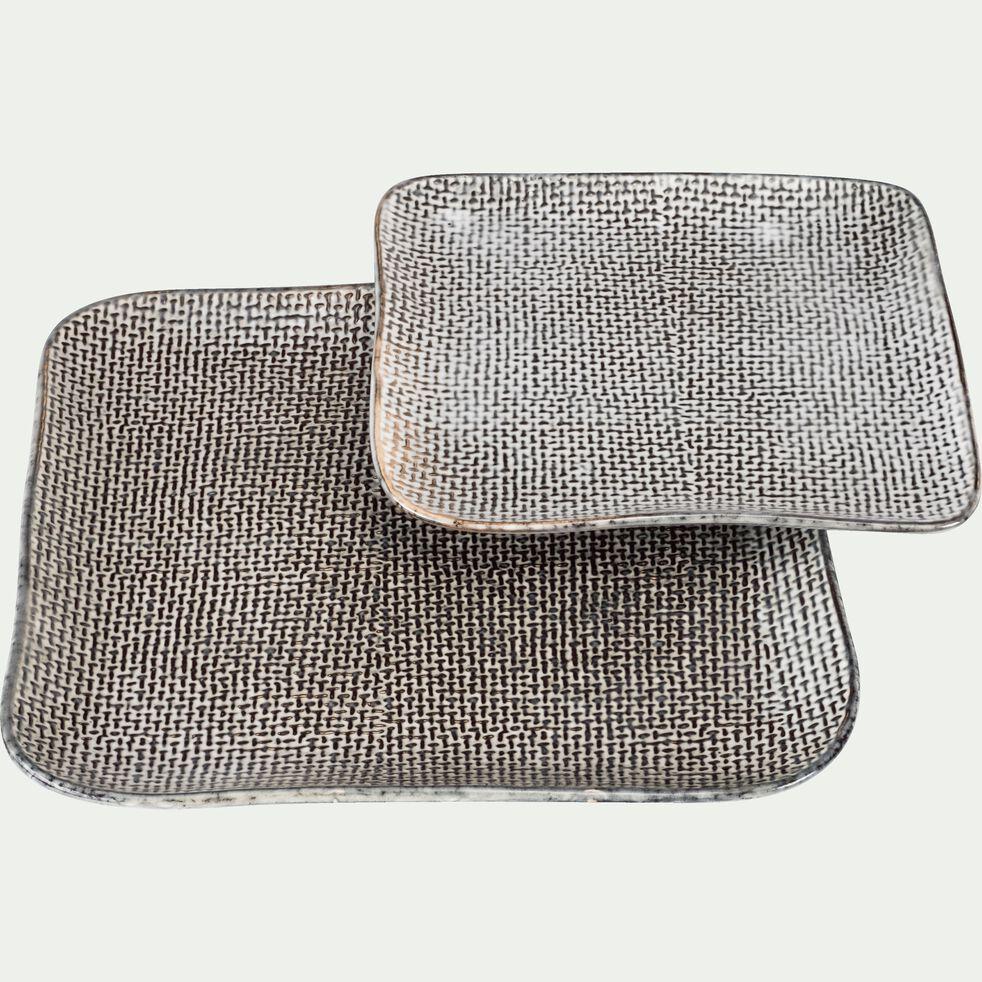 Assiette plate en grès grise effet texturé D26,8cm-LARGO