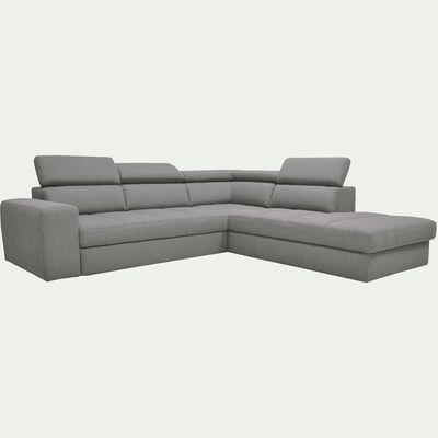Canapé d'angle droit panoramique convertible en tissu - gris clair-TONIN