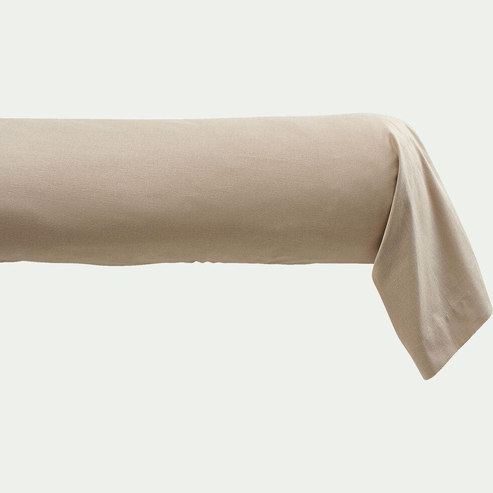 Taie de traversin en coton - beige alpilles 43x190cm-CALANQUES