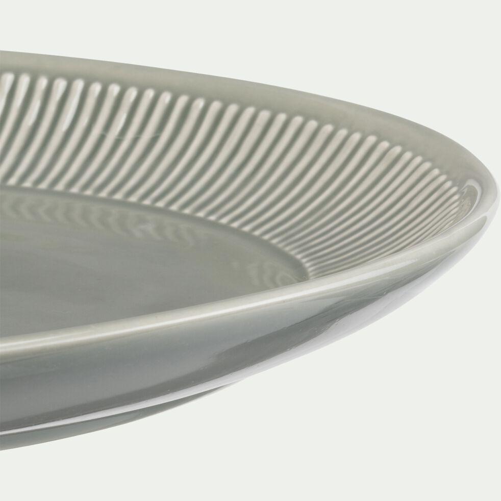 Plat ovale en faïence L40xl28xh4cm - vert olivier-MORA