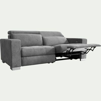 Canapé 3 places fonction relax électrique 2 relax en tissu - gris-MAURO