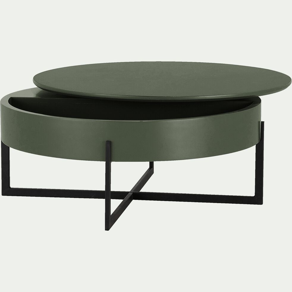 Table basse ronde avec plateau rotatif - vert cèdre H37,5xD85cm-CHOUCAS