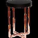 Bout de canapé rond en métal noir et cuivré-ARTY