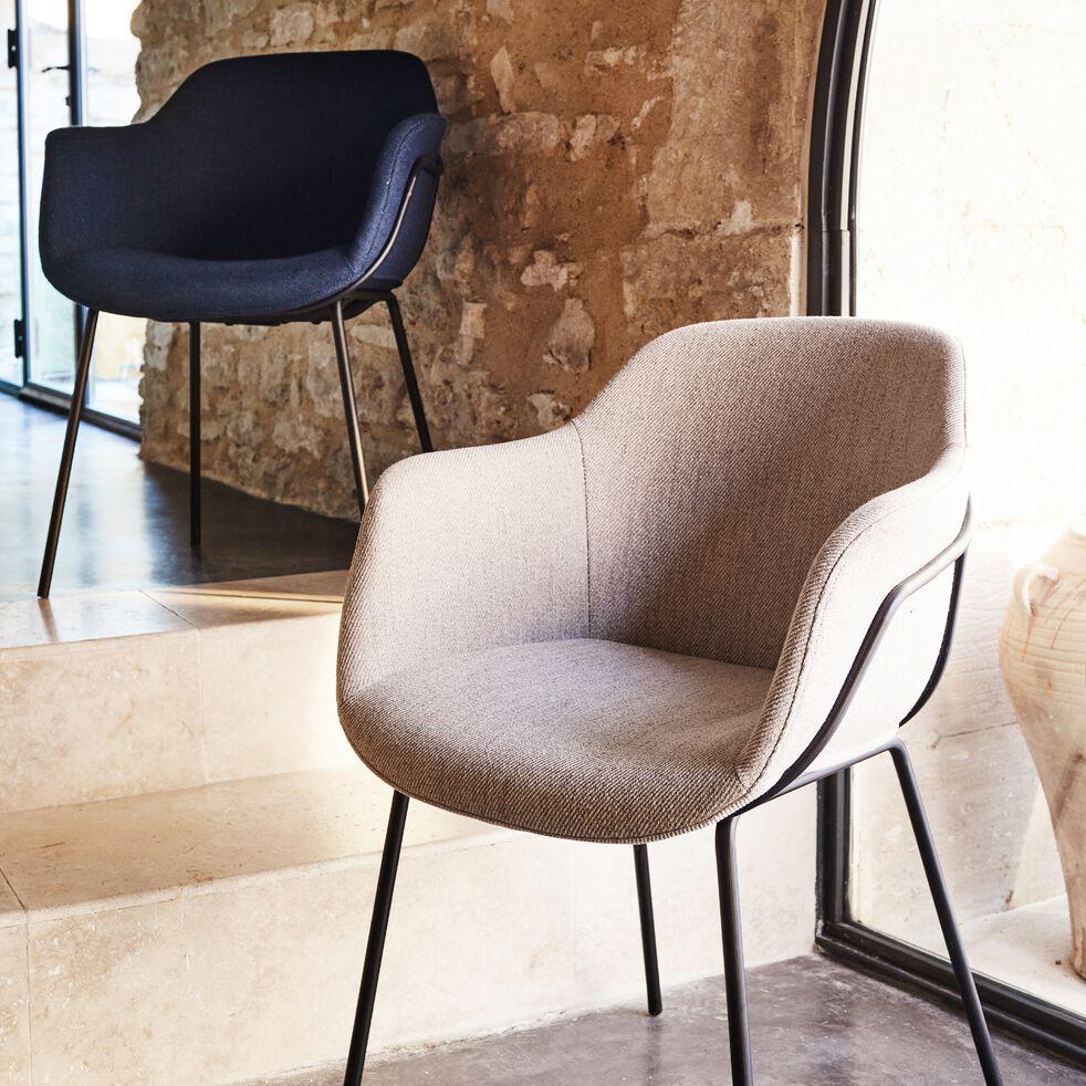 Chaise en tissu avec accoudoirs - beige alpilles-CHLOE