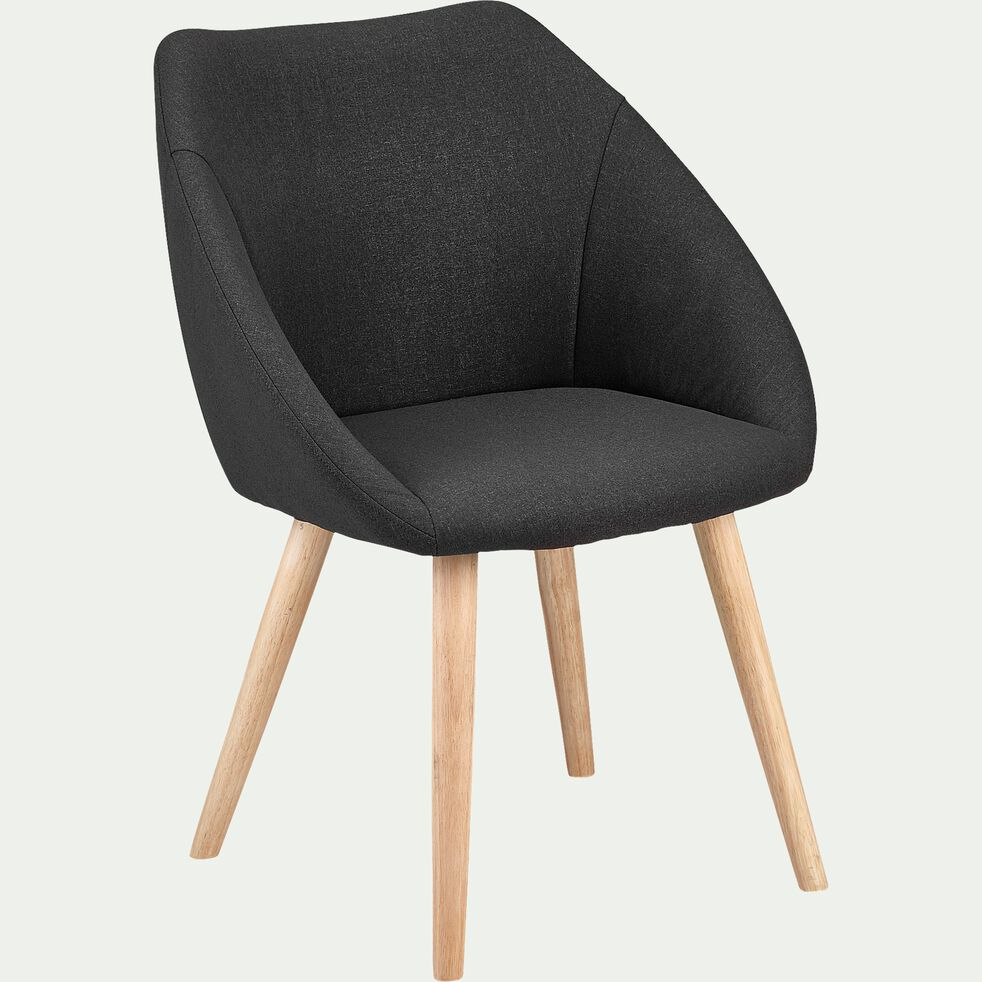 Chaise en tissu avec accoudoirs et piètement naturel - gris ardoise-ELIA