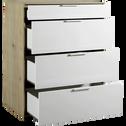 Commode 4 tiroirs finition chêne clair et façade blanche-MILANO