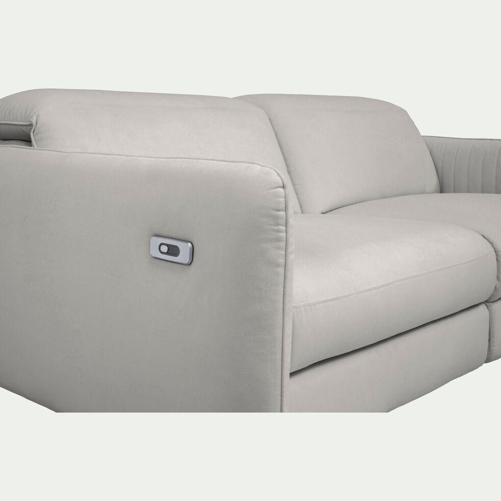 Canapé 3 places relax électrique en tissu - gris borie-MARSALA