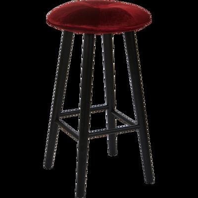 Tabouret de bar en velours rouge sumac - H75cm-AUGUSTIN