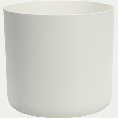 Cache-pot blanc en plastique H23,3xD25cm-B FOR