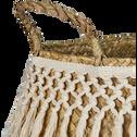 Panier à franges blanc en jonc de mer-Cléa