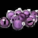 10 boules de Noël en plastique violet D6cm-BAUS