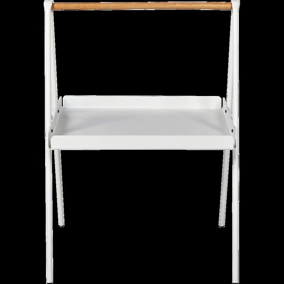 Bout de canapé rectangulaire en métal blanc et bois-SLOP