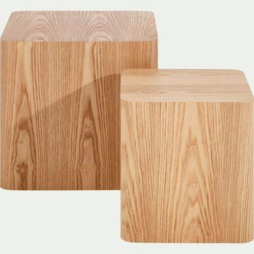 Ensemble de 2 bouts de canapé carrés plaqués frêne-AILLE