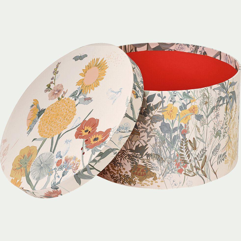 lot de 2 boites rondes décoratives motif prairie-LIMA