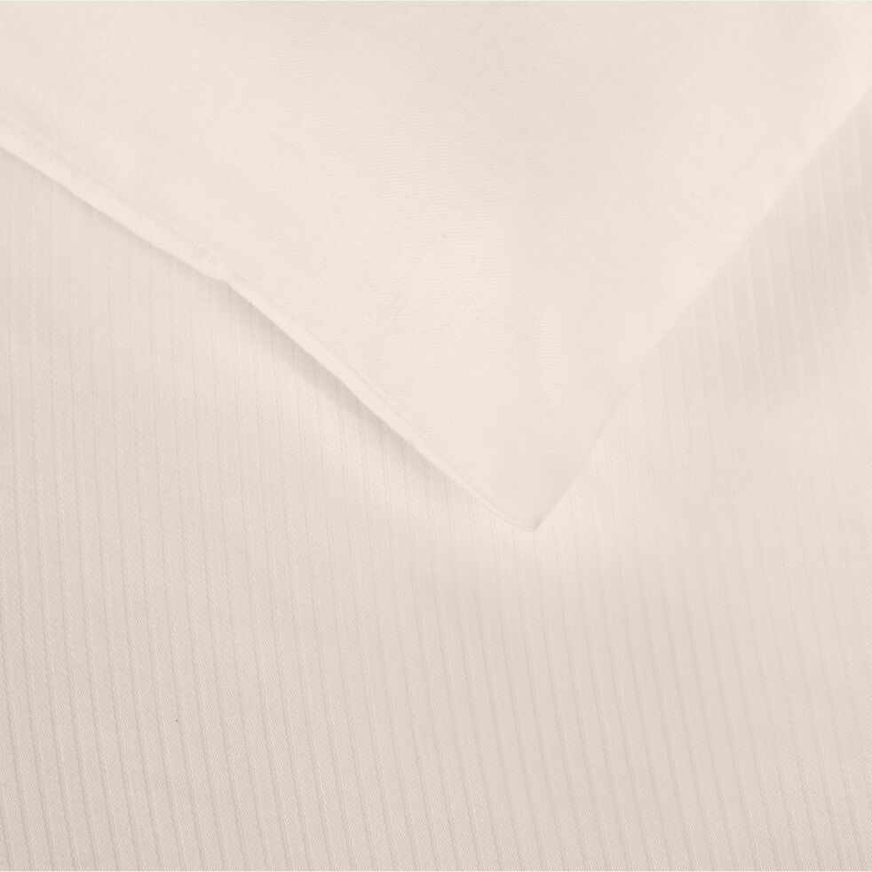 Housse de couette rayée en satin de coton - rose grège 260x240cm-SANTIS