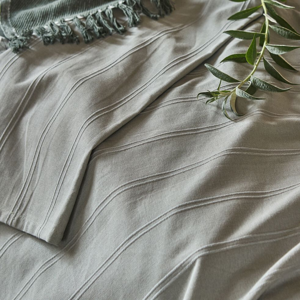 Plaid tissé en coton vert olivier 230x250cm-BELCODENE