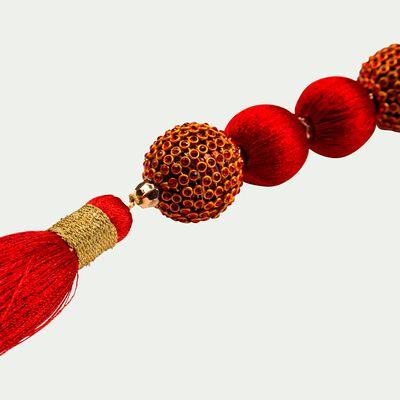 Guirlande de noël perlée rouge L94cm-LUCIO