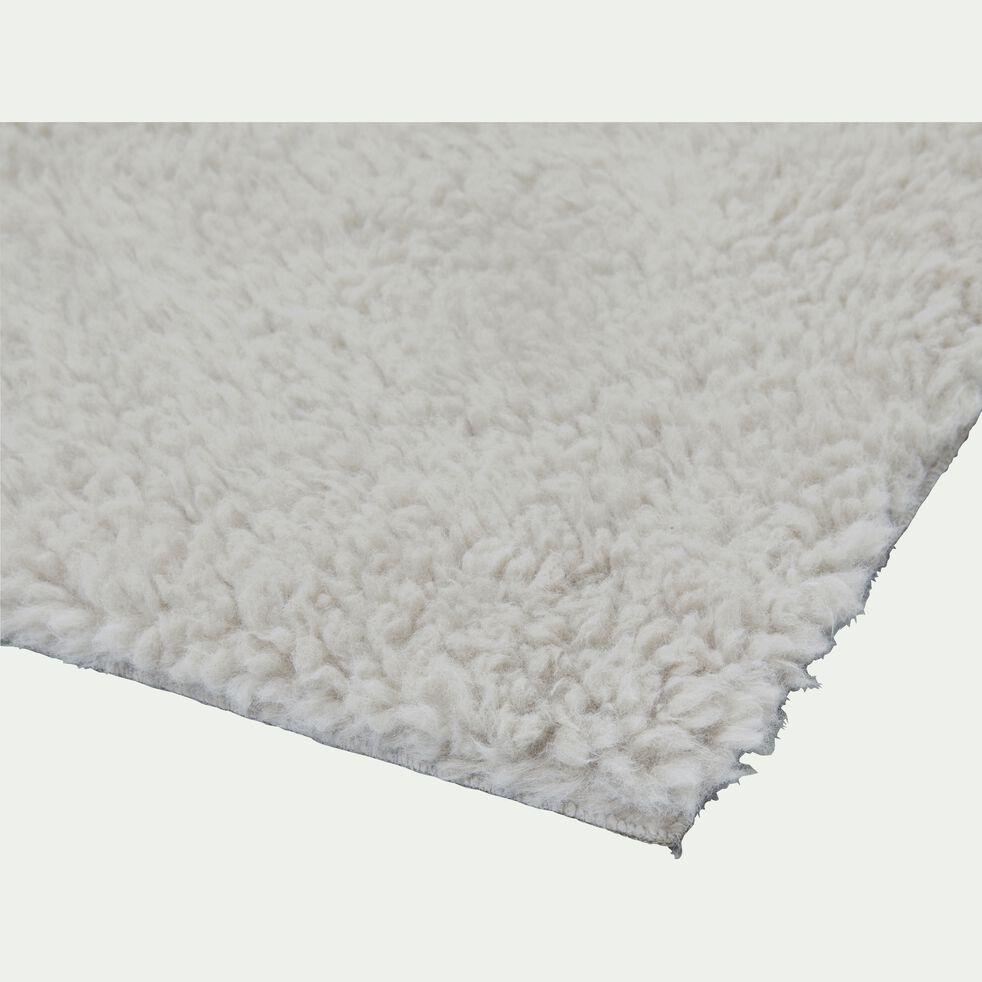 Tapis sherpa rectangulaire uni 100x133cm gris borie-AURORE