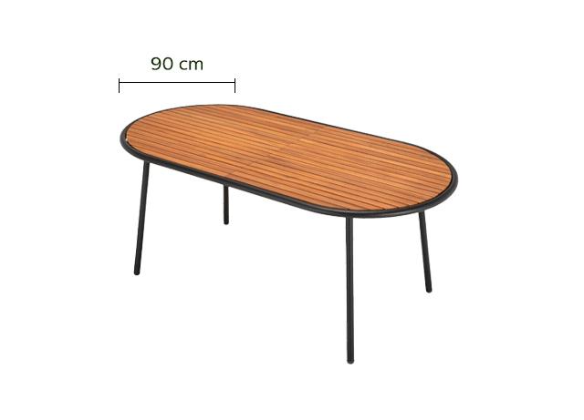 Table de jardin en acacia FSC et métal (4 à 6 places)-ALDO