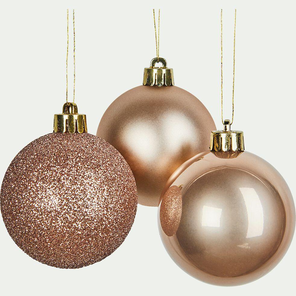 Lot de 10 boules de Noël en verre beige D6cm-BINAN