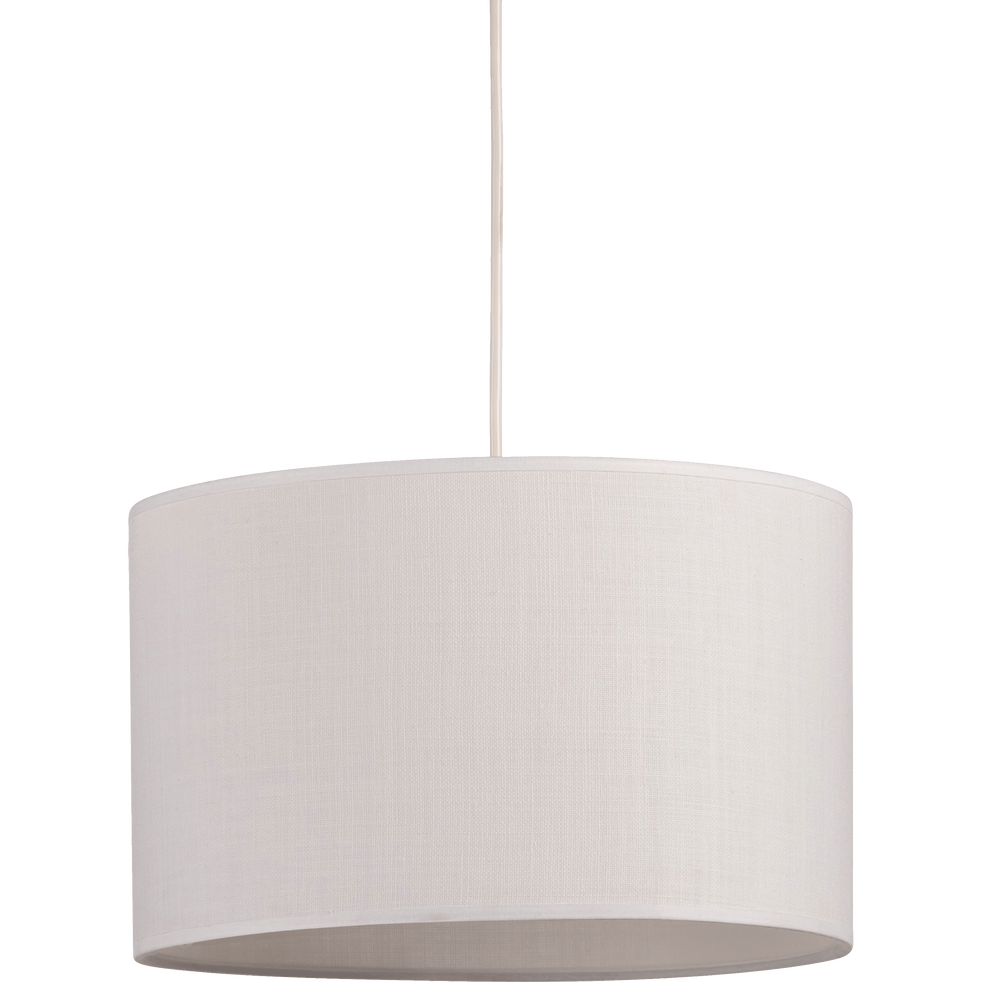 Suspension cylindrique en tissu blanc D75cm-MISTRAL