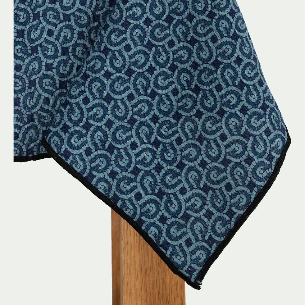 Nappe en lin et coton bleu 170x250cm-MOSAIQUE