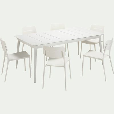 Ensemble table extensible et chaise de jardin en aluminium - blanc