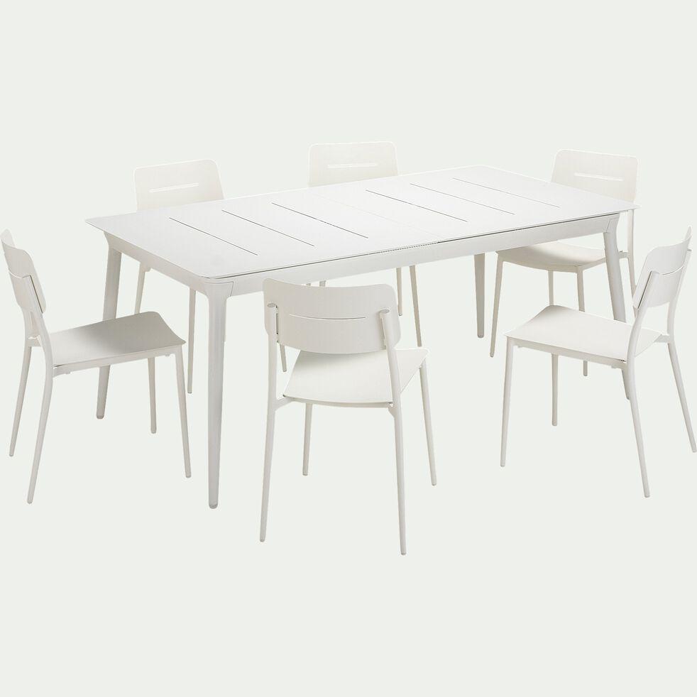 Ensemble table extensible et chaise de jardin en aluminium - blanc