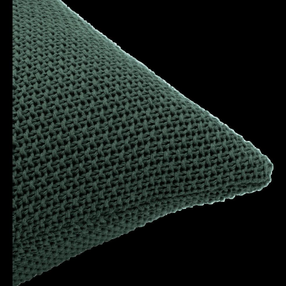 Coussin tricoté en coton vert cèdre 40x40cm-VERDON