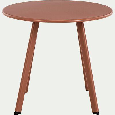 Table basse ronde en acier D40cm - marron rustrel-ELIO