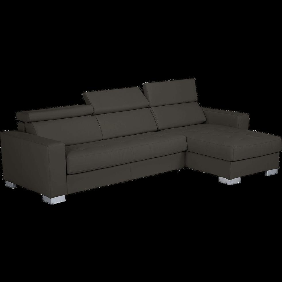 Canapé d'angle réversible en cuir de buffle taupe foncé-Mauro