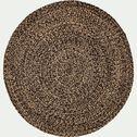 Tapis rond en jute - naturel et noir D90cm-KEMET