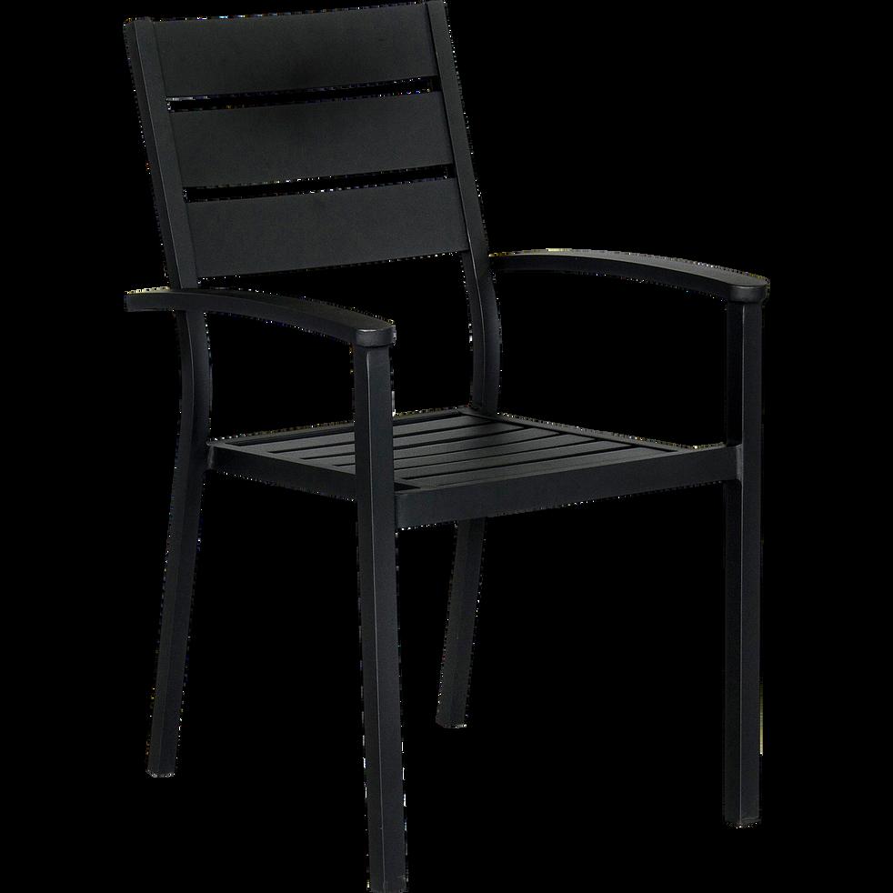 Fauteuil de jardin empilable noir en aluminium maria chaises de jardin alinea - Alinea fauteuil jardin ...