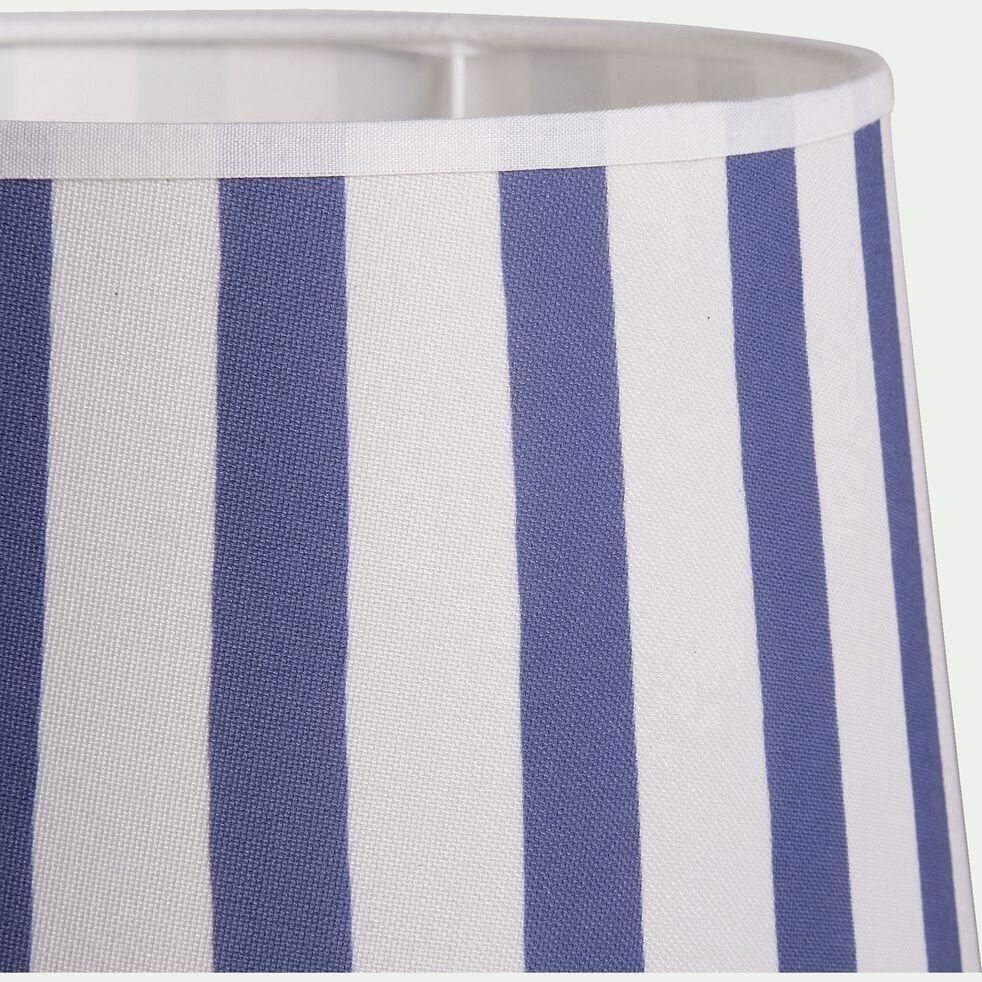 Abat jour à rayures non électrifié H16xD23cm - bleu-KAZA