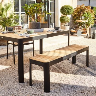 Table de jardin en aluminium et teck (6 à 10 places) - naturel-TASTA