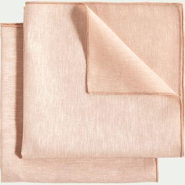 Lot de 2 serviettes de table en lin et coton rose grège 41x41cm-NOLA