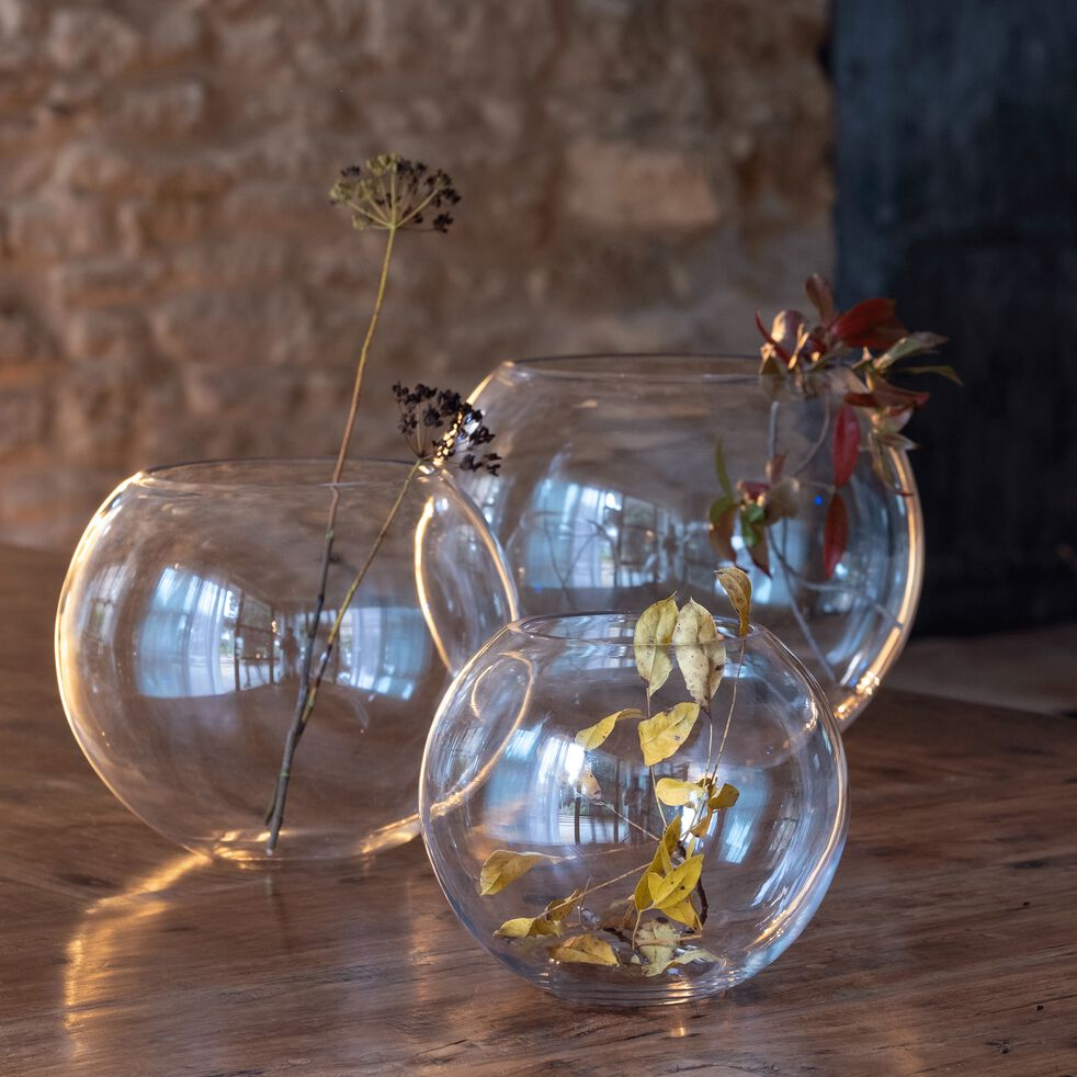 Vase boule en verre - transparent D24,5cm-CERS