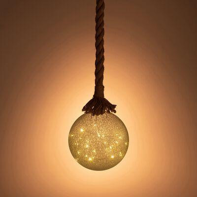 Boule de noël lumineuse en jute et verre D14cm-VERAN