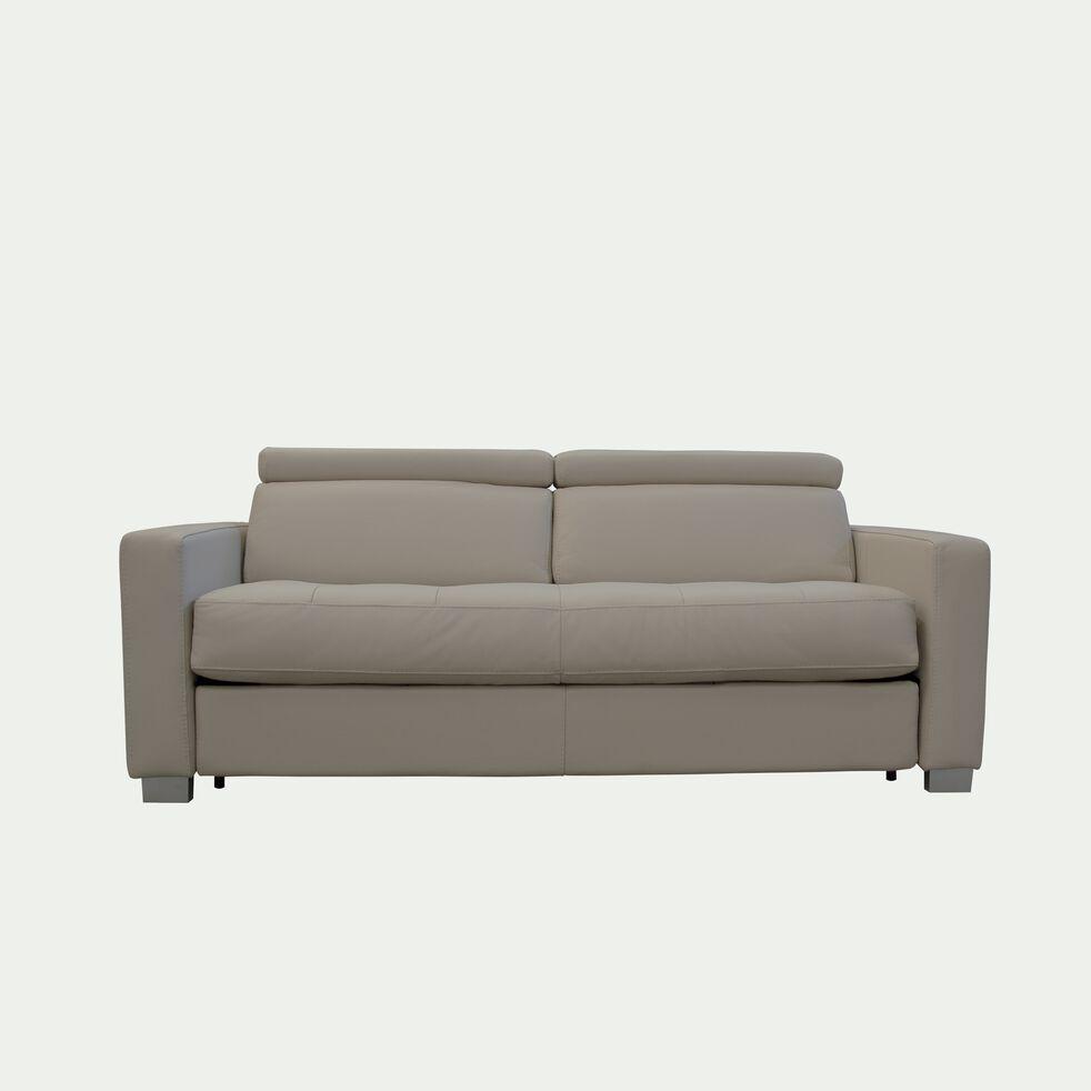 Canapé 3 places fixe en cuir avec accoudoir 15cm - beige-MAURO