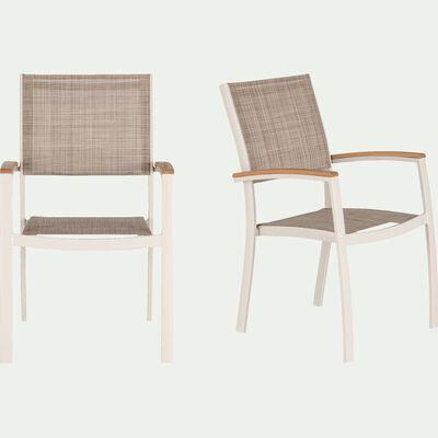 Chaise de jardin avec accoudoirs empilable en aluminium - blanc écru-DOLE