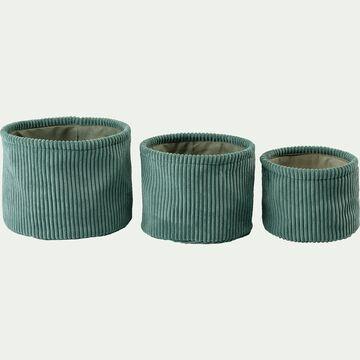 Lot de 3 paniers ronds en velours côtelé - vert-Vela