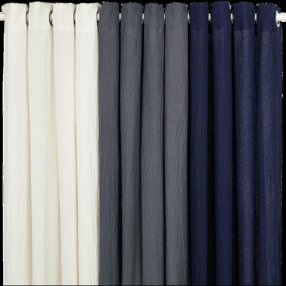 Rideau à œillets en coton et lin blanc 130x250cm-LEONY