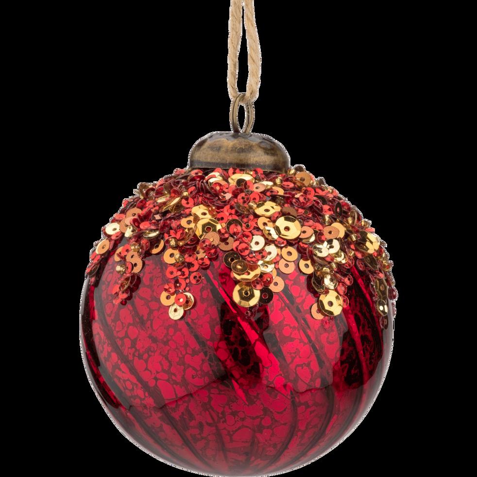 Boule de Noël en verre rouge D8cm-ANCHISE