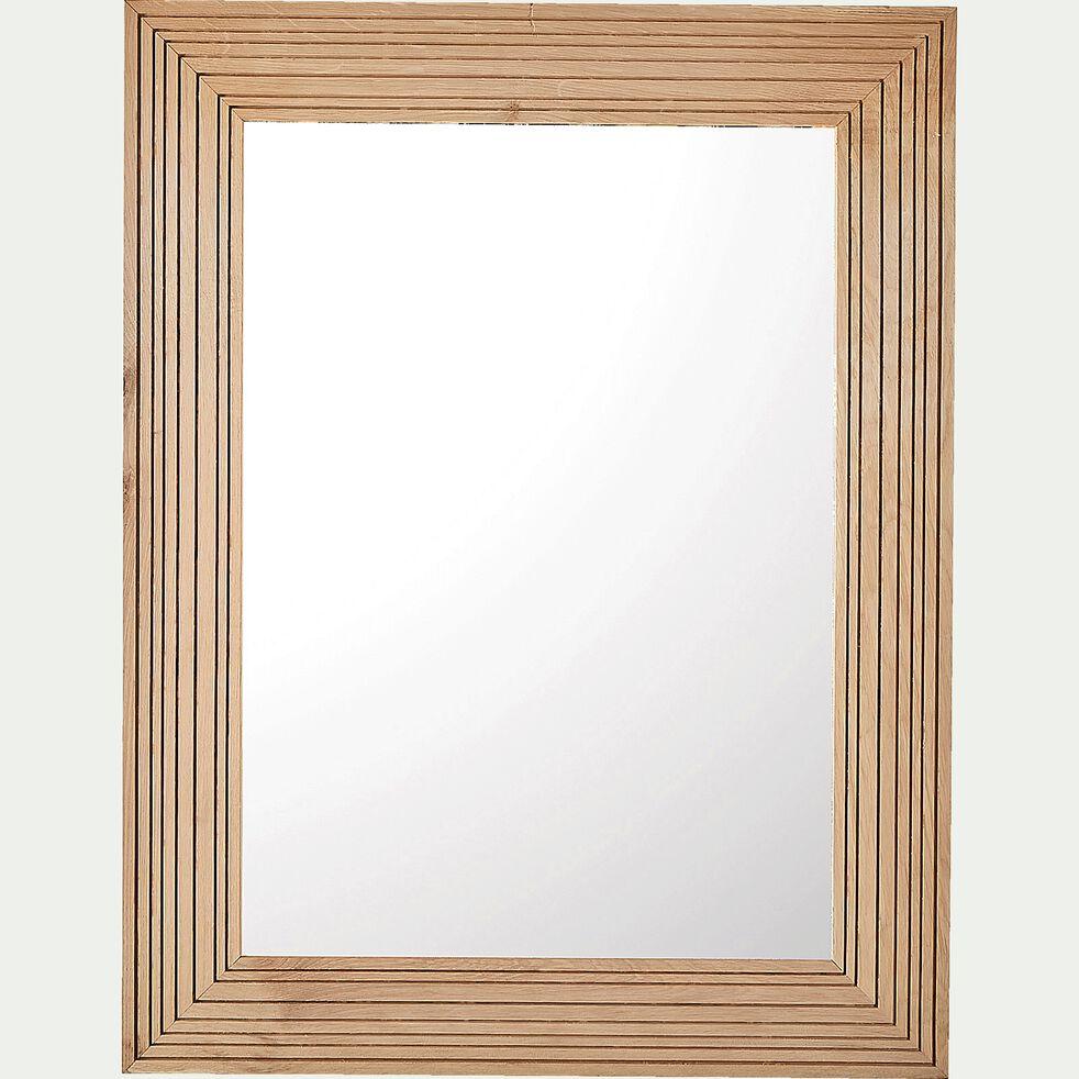 Miroir en bois de chêne strié - naturel 70x90cm-RAYA