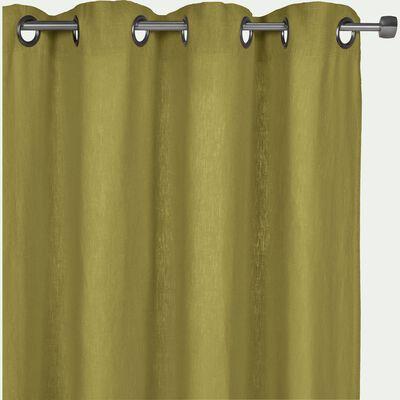 Rideau à oeillets en lin lavé vert garrigue 140x280cm-VENCE