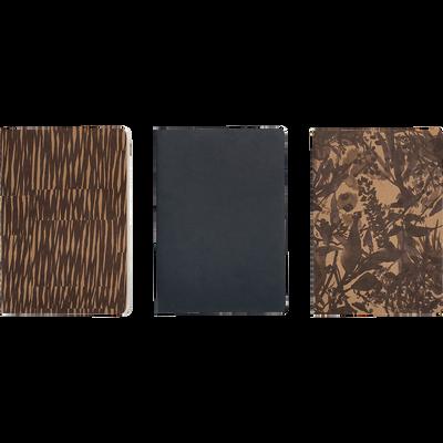 Lot de 3 carnets à motifs marron 14.80x21cm-OUMBRUN
