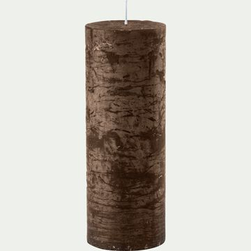 Bougie cylindrique - D7xH19cm marron-BEJAIA